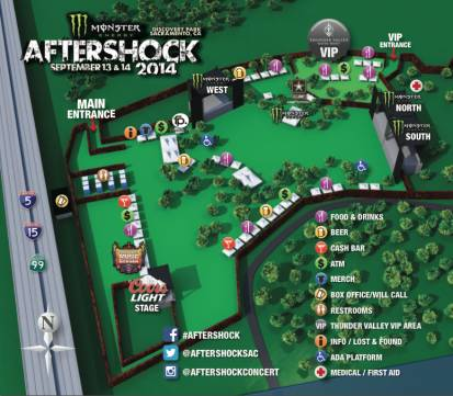 Monster Energy's AFTERSHOCK Festival site map