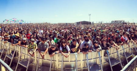 Crowd in front of the stage at Back To The Beach