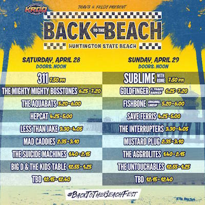 Back To The Beach set times