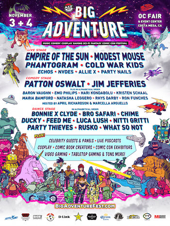 Alt 98.7 Presents Big Adventure flyer with performance lineup and venue details
