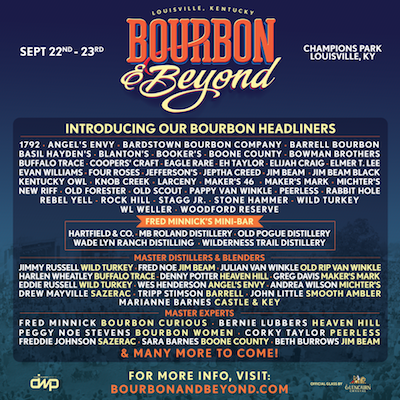 Bourbon & Beyond 2018 flyer with list of bourbons and bourbon personalities featured at the festival