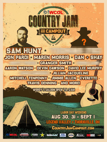92.3 WCOL Country Jam + Campout flyer with initial music lineup and venue details
