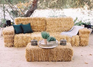 Hay bale couch at 92.3 WCOL Country Jam