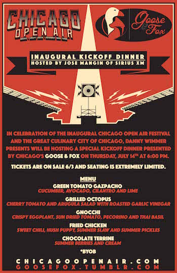 Menu and details of the Chicago Open Air Inaugural Kickoff Dinner at Goose & Fox, hosted by Jose Mangin of SiriusXM