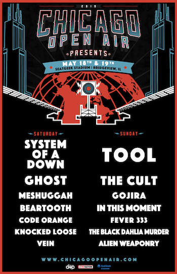 Chicago Open Air Presents flyer with daily music lineup & show details