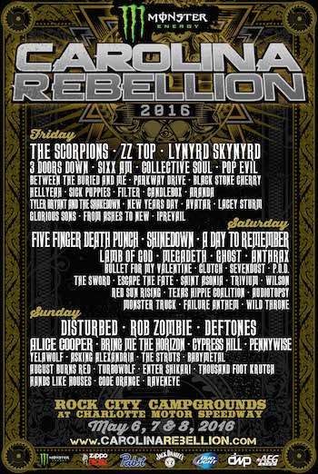 Monster Energy Carolina Rebellion flyer with band lineup and venue details.
