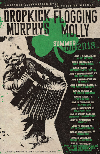Dropkick Murphys & Flogging Molly tour flyer with tour dates