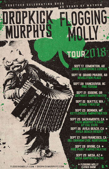 Dropkick Murphys / Flogging Molly tour flyer with tour dates