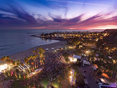 Aerial shot of Driftwood 2016 at sunset