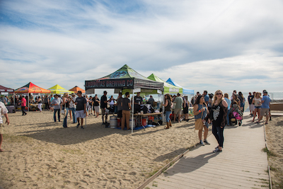 Crowd in the tasting area at Driftwood at Doheny State Beach