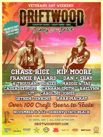 Driftwood at Doheny State Beach admat with band lineup and venue details
