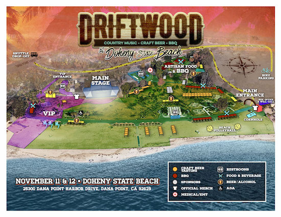 Driftwood at Doheny State Beach venue map