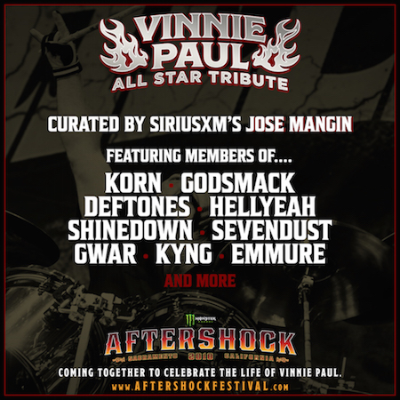 Flyer for Vinnie Paul Tribute at Monster Energy Aftershock with initial list of guest performers