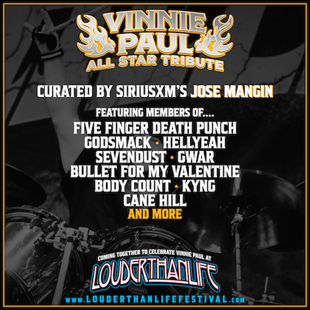 Flyer for Vinnie Paul Tribute at Louder Than Life with initial list of guest performers