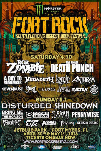 Monster Energy Fort Rock flyer with band lineup and venue information
