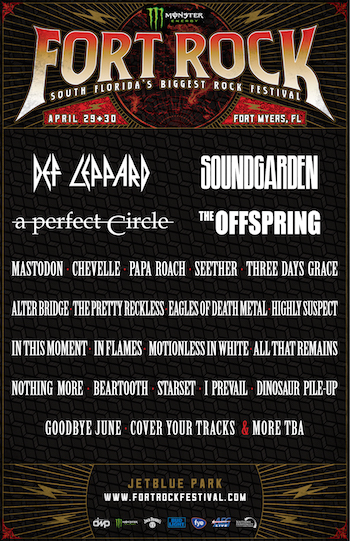 Monster Energy Fort Rock flyer with band lineup