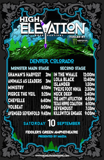 High Elevation Rock Festival flyer with band performance times