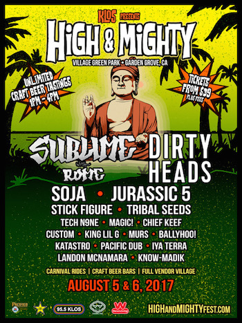 KLOS presents High & Mighty Festival flyer with band lineup and venue details