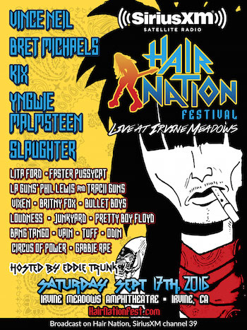 SiriusXM's Hair Nation Festival flyer with band lineup and venue details