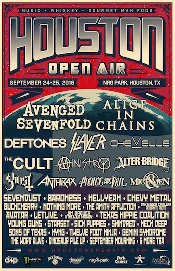 Houston Open Air flyer with band lineup and venue details