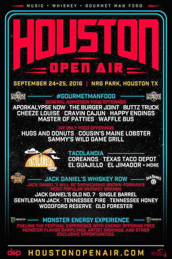 Houston Open Air whiskey and Gourmet Man Food flyer