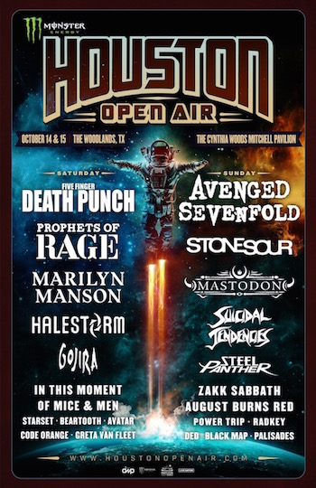 Monster Energy Houston Open Air flyer with daily band lineup and venue details