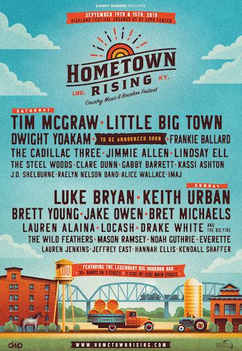 Hometown Rising flyer with music lineup and festival details