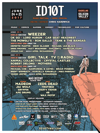 ID10T Music Festival + Comic Conival flyer with music, comedy and comic book lineup