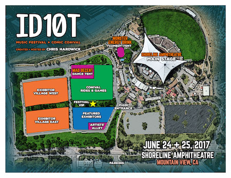 Map of the ID10T Music Festival + Comic Conival festival grounds at Shoreline Amphitheatre