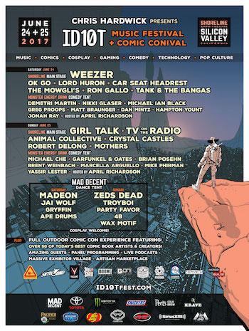 ID10T flyer with music and comedy lineup, venue details, sponsors and more
