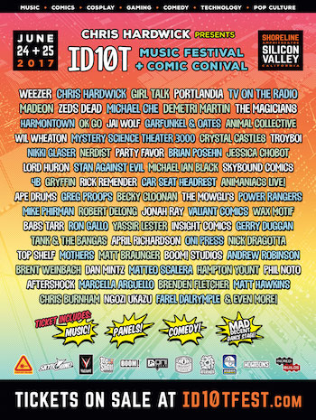 ID10T Music Festival + Comic Conival flyer with full list of comedy & music performers