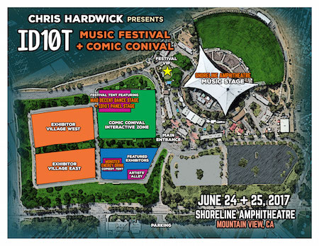 Map of the ID10T festival grounds at Shoreline Amphitheatre