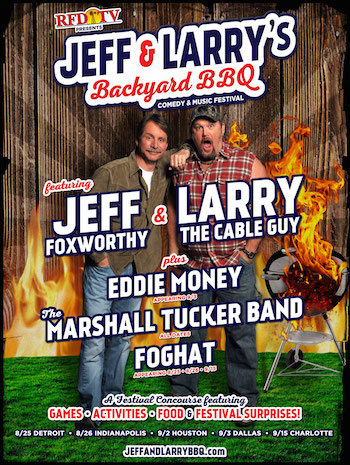 RFD-TV presents Jeff & Larry's Backyard BBQ flyer with music & comedy lineup