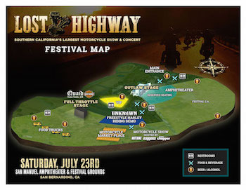 Lost Highway admat with music lineup and venue details