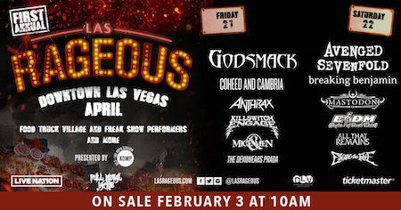 Las Rageous flyer with band lineup and venue details