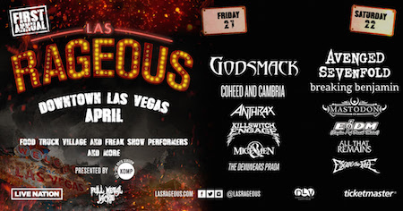 Las Rageous flyer with daily band lineup and festival details