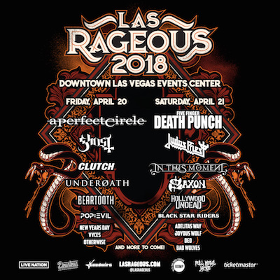 Las Rageous 2018 flyer with band lineup and venue details