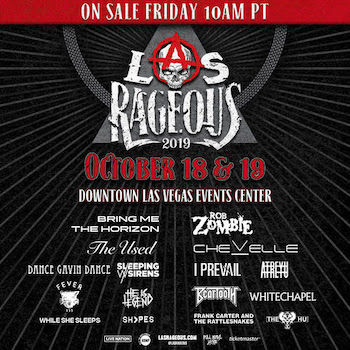 Las Rageous flyer with music lineup and show details