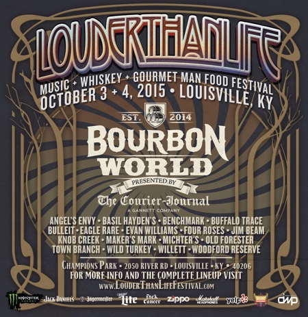 LOUDER THAN LIFE Bourbon World presented by The Louisville Courier-Journal flyer with bourbon list