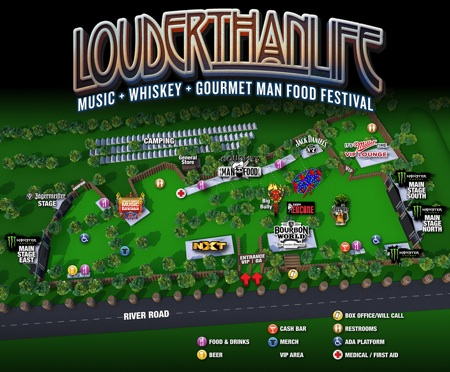 LOUDER THAN LIFE festival map