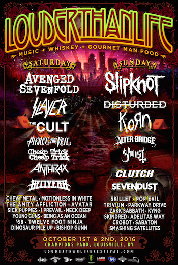 LOUDER THAN LIFE flyer band lineup and venue details