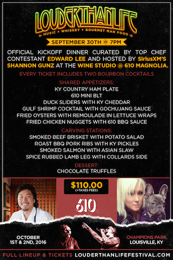 LOUDER THAN LIFE kickoff dinner flyer with menu and additional details