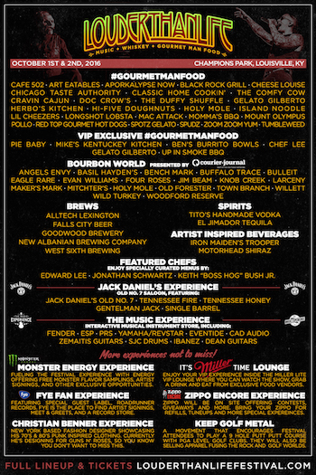 LOUDER THAN LIFE flyer with Gourmet Man Food, bourbon, beer and secondary entertainment details