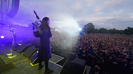 Korn's Jonathan Davis plays the bagpipes in front of a sea of fans at LOUDER THAN LIFE, photo by Strati Hovartos