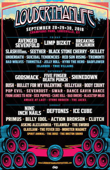Louder Than Life flyer with daily band lineup and venue details