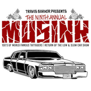Travis Barker Presents The 9th Annual MUSINK flyer with lowrider sedan