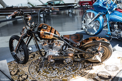 Custom motorcycle at the Low 'N' Slow Car Show at MUSINK, photo by Daniel Rojas