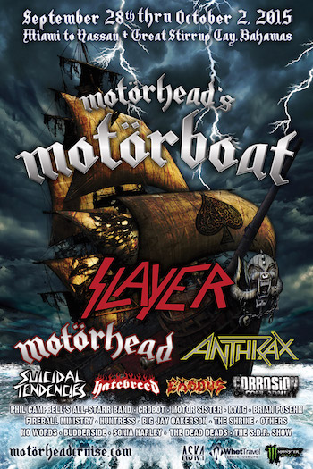 Motorhead's Motorboat flyer with band lineup, cruise dates (Sept. 28-Oct. 2, 2015) and port information.