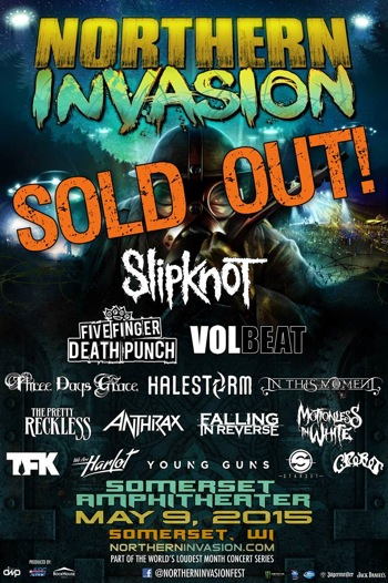 Northern Invasion SOLD OUT flyer with band and venue details