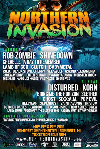 Northern Invasion flyer with daily band lineups and venue details